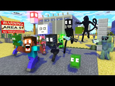 Monster School : AREA 51 RAID ALIEN APOCALYPSE – Minecraft Animation