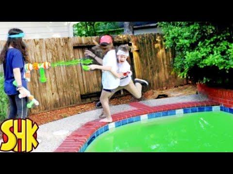 SuperHeroKids Giant Mind Control Slime Nerf Battle! | Funny Family Videos Compilation